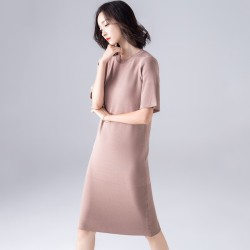 2019 summer plus size knit dress in a solid color the straight cylinder loose five points Horn sleeve ice hemp primer in a long