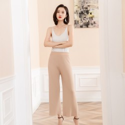 Knit wide-leg pants solid color loose thin cool and comfortable elasticated waist women's trousers